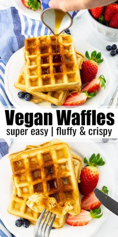 You are going to love these classic vegan waffles! They are super quick and easy… You are going to love these classic vegan waffles! They are super quick and easy to make and they are golden crispy on the outside and perfectly fluffy on the inside. Healthy Vegan Snacks, Vegan Breakfast Recipes, Vegan Foods, Easy Vegan Snack, Vegan Breakfast Protein, Vegan Snacks On The Go, Healthy Fast Food Breakfast, Vegan Breakfast Casserole, Healthy Waffles