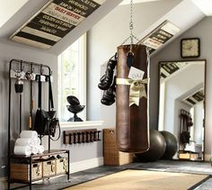 Pottery barn antiqued leather punching bag...Love everything in this room!!