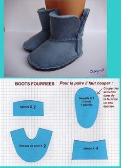 patrones de zapatos para la American Girl Doll hechos con fieltro - Buscar con Google