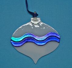 fused glass ornament with glass noodles