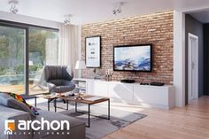 Projekt dom w sliwach 27694 Living Room Tv, Living Room Modern, Living Room Designs, Living Room Brick Wall, Salons Cosy, Exposed Brick Walls, Beautiful Living Rooms, Loft Style, Bungalow House Design