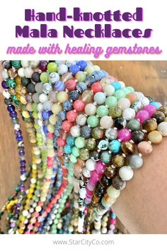 Need to feel more centered in your daily life? Each of the 108 smooth gemstone beads used to create these mindful mala necklaces work in concert with your 7 chakras. Plenty of gemstones, color combos and pendants available...get yours today! *Mala necklaces#handmadejewelry #malanecklace #meditation #healingcrystals #malabeads
