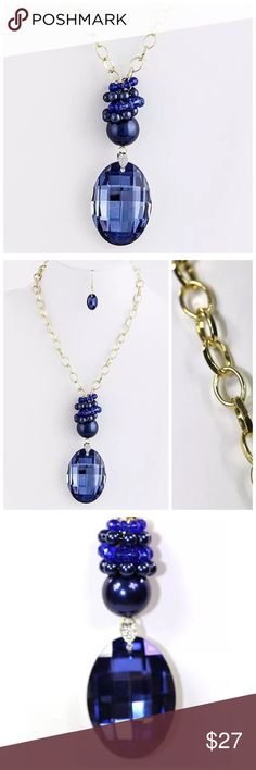 """Large Blue Crystal Pendant Statement Necklace D10 ‼️ PRICE FIRM UNLESS BUNDLED WITH OTHER ITEMS FROM MY CLOSET ‼️   Royal Blue Crystal Necklace  Beautiful large statement necklace.  Gold color chain, royal blue color large crystal.  Very versatile, can be worn in a choker style as well simply by moving the faux pearl rings up.  Comes with matching earrings.  This is a large statement piece.  Absolutely gorgeous!  Pendant is 3""""x2"""".   Necklace is 22"""" long including 3"""" extender chain. Jewelry…"""