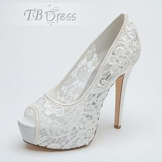 Fashion Lace Peep-Toe High Heel Wedding Shoes
