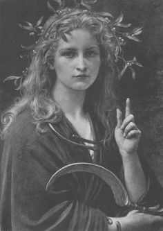 Vintage Image of a Druid Priestess with her Golden Sickle and Mistletoe in her hair