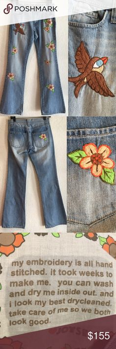 Joystick Hand Embroidered Jeans Gucci XS 24 $360 Joystick Hand Embroidered Jeans Gucci XS 24 x 32 $360 Joystick Jeans Flare & Wide Leg