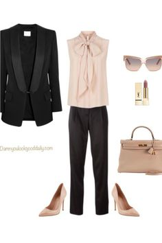 work-outfit-idea-black-pants-nude-pointy-toe-pumps