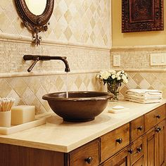 I would love this pottery bowl to go on the table I am replacing the vanity with, a great primitive look.