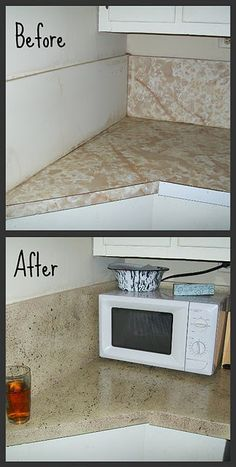 paint counter- There is so many diffrent ways to paint your counter tops. Pretty cool for the brokies and the cheapies like me. :)