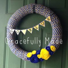 University of Michigan Yellow and Blue Wreath on Etsy, $25.00