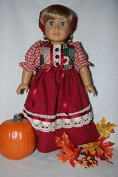 Doll-clothes-fit-18-AG-Dolls-fall-prairie-dress-scarf-USA-handmade-quality