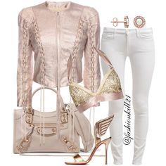 """Always dress like you're going to see your worst enemy.""- Kimora Lee Simmons  #rosegold DETAILS: Jacket #Alexandermcqueen Bralett #Laperla Jeans #7forallmankind Shoes #Christianlouboutin  Bag #Balenciaga #Styledbyfashionkill21"