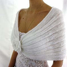 ROMANTIC WHITE...Handmade Mohair Capelet with a Flower by Rumina