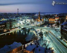Blick auf die Stadt, Abend, Schnee, Fluss, Finnland