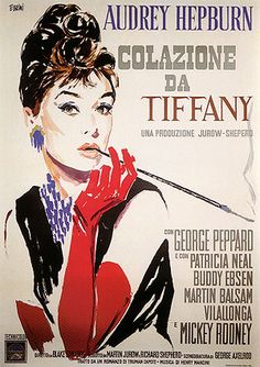 Italian film poster for Audrey Hepburn in 'Breakfast at Tiffany's.
