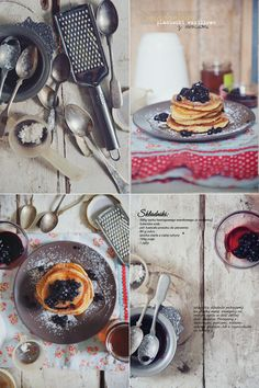 work by Paulina Kolondra Amazing Food Photography, Food Photography Props, Crepes And Waffles, Vanilla Pancakes, Blueberry Pancakes, Food Design, Design Files, Creative Food, Food Pictures