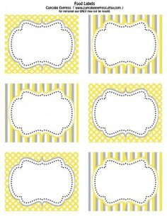 This yellow and gray printable set will have you thinking Spring showers and parties! I love the classic combination of stripes and dots for an all-purpose design. Get these FREE Downloads from Cupcake Express and start designing your party! You're welcome!