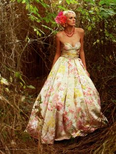 woodland beauty! floral gown by luly yang in seattle bride magazine, spring/summer 2009.