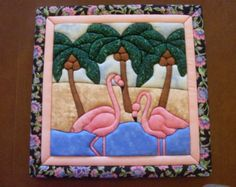 MADE TO ORDER - Fancy Flamingos Quilt  Wall Art