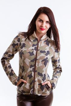 Jacket Army Camouflage Army Camouflage, Handmade Design, Brown Leather, Jackets For Women, Tights, Bomber Jacket, Spring Summer, Sport, Elegant