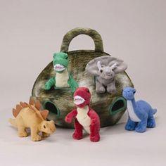 Plush Dinosaur House with Dinosaurs - Five (5) Stuffed Animal Dinosaur in Play Dinosaur Carrying Case Unipak http://www.amazon.com/dp/B001Q8VPS6/ref=cm_sw_r_pi_dp_WW9Otb1SE9FNTCBH