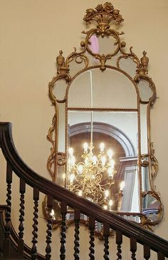 Looking Glass on the stairs, Very large antique gilded mirror - Red Lodge, Bristol I Love Mirrors, Old Mirrors, Vintage Mirrors, Beautiful Mirrors, Fancy Mirrors, Red Lodge, Magic Mirror, Through The Looking Glass, Elegant Homes