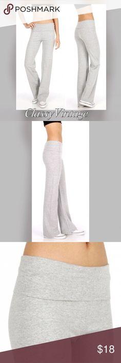 Grey cotton blend yoga pants. Fold over waist grey yoga pants. Super soft and stretchy cotton blend. Boutique Pants Track Pants & Joggers