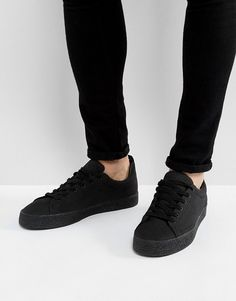 Bershka Lace Up Sneaker In Black