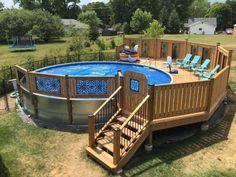 #decoratingideas #decorstyles Above Ground Pool Landscaping, Above Ground Pool Decks, Backyard Pool Landscaping, Small Backyard Pools, Backyard Pool Designs, In Ground Pools, Outdoor Pool, Backyard Projects, My Pool