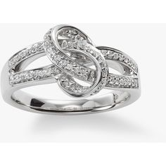 Diamond Knot Ring, 14K White Gold (6.955 VEF) ❤ liked on Polyvore featuring jewelry, rings, 14 karat white gold ring, knot jewelry, diamond jewellery, white gold diamond ring and 14k diamond ring