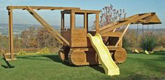 Playset - so awesome! Papa wants to know if that will fit in the back yard Casey. Playground Set, Backyard Playground, Outdoor Fun, Outdoor Spaces, Outdoor Living, Jungle Gym, Fire Trucks, Play Houses, The Great Outdoors