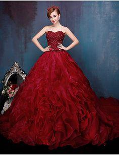 Princesse Robe de Mariage Colorées Traîne Cathédrale Coeur Dentelle Organza  avec Perlage Noeud Volants en cascade Cristal Dentelle de381d455acf