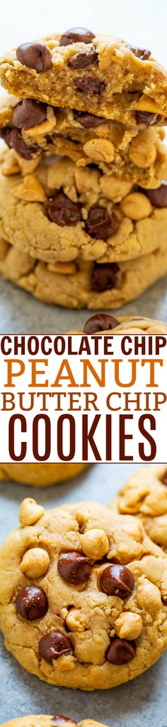 Chocolate Chip Peanut Butter Chip Cookies – Super soft, perfectly chewy, BROWNED BUTTER cookies that are LOADED with two kinds of chips!! An EASY one-bowl, no-mixer recipe for irresistibly DELISH cookies!!