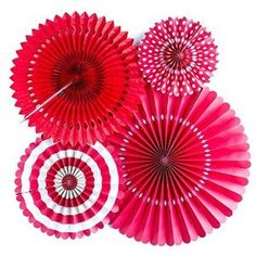 Buy Red Paper Rosettes Party Fans by Nubelowo