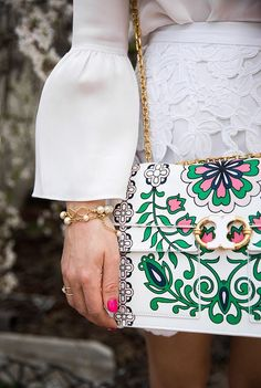 Colorful purse, handbag with flowers! Dolce & gabanna and gucci style!