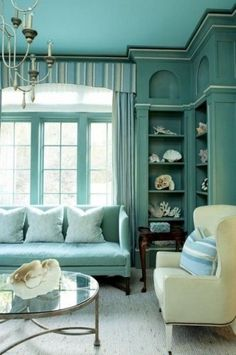 Love the corner shelves and color