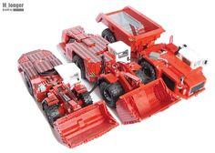 Sandvik machines Lego Tractor, Lego Truck, Lego Machines, Lego Vehicles, Lego Construction, Awesome Lego, Lego Models, Lego Stuff, Lego Moc