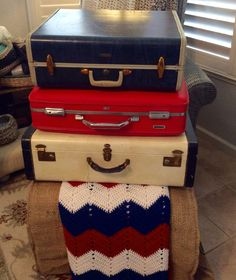 4th of July vintage luggage, by DSS Designs