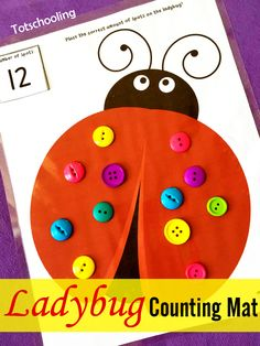 Free Ladybug Counting Mat and links to other lady bug learning activities Bug Activities, Spring Activities, Kindergarten Activities, Learning Activities, Preschool Activities, Preschool Centers, Preschool Lessons, Preschool Learning, Preschool Crafts