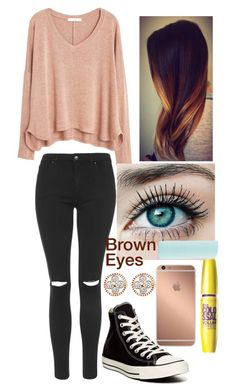 """""""Untitled #155"""" by nicolette-music ❤ liked on Polyvore featuring MANGO, Topshop, Converse, Mura and Eos"""