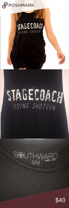 Southward Apparel stagecoach muscle tee Southward Apparel's super soft Muscle Tee is the perfect cut and fit for layering! Long enough to wear with a pair of skinny jeans or leggings, this tee is essential for every season. In excellent condition! Make me an offer! Size is a small/medium   Fabric Content: 50% Cotton, 50% Modal  Pre-laundered, dyed fabric  Wash cold, tumble dry low   Garment will not shrink Southward Apparel Tops Muscle Tees