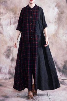 Buy Patch Pocket Red Plaids Overcoat Loose Flax Clothing for Woman in Coats online shop, Morimiss offers Coats to make you feel comfortable Maxi Shirts, Maxi Shirt Dress, Flax Clothing, Plaid Fashion, Long Cardigan, Red Plaid, Plus Size Outfits, Dresses With Sleeves, Shirtdress