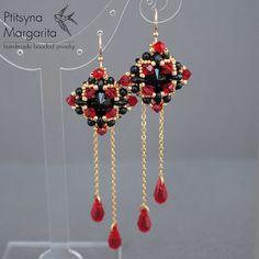 Orecchini lunghi con catene swarovski Orecchini con gocce perline rosso nero beadwoven perlina tessuta Orecchini Orecchini di perline