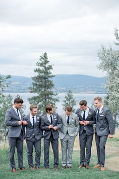 Rustic + Romantic British Columbia Summer Wedding Photography : Christie Graham Photography Read More on SMP: www. Dark Grey Groomsmen, Rustic Groomsmen Attire, Groomsmen Outfits, Bridesmaids And Groomsmen, Groom Attire, Groomsman Attire, Grey Suit Groom, Navy Blue Groom, Tweed Groom