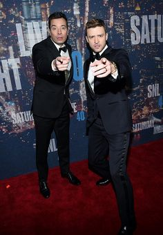 "laurenpokedoff: ""Jimmy Fallon and Justin Timberlake attend SNL 40th Anniversary Celebration at Rockefeller Plaza on February 15, 2015 in New York City. (Photo by Larry Busacca/Getty Images)"""