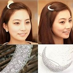 2 Pcs Crystal Rhinestone Crescent Shaped Hair Clip bangs clip Hair Accessories ** Read more reviews of the product by visiting the link on the image.