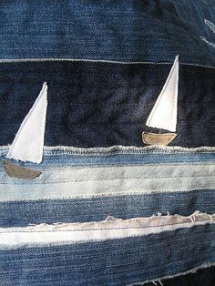 Recycled jeans quilt.      Another idea I like is to use rag edges for just the water on a quilt~ How cute is this for a boy??
