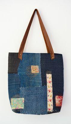 Transform your denim scraps into a sashiko denim tote - great way to recycle denim. Click through to blog for full tutorial