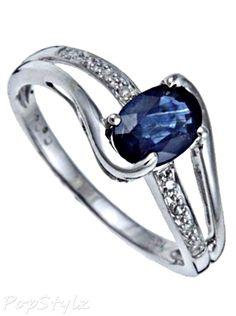White Gold Blue Sapphire Diamond Ring