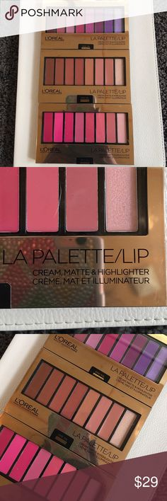 Loreal La palette/lip bundle (3) All brand new and never opened. These come w 7 shades each (a color for a day in the week). Very creamy, matte and pigmented. I use a lipstick brush and these show up like you're using a lipstick tube. Very true to color as in the palette. I know; because I have my own and bought these as backup since it LE, I didn't wanna run out because these are so good. They retail $25 each at Walgreens. Selling just because I haven't even put a little dent in the other…